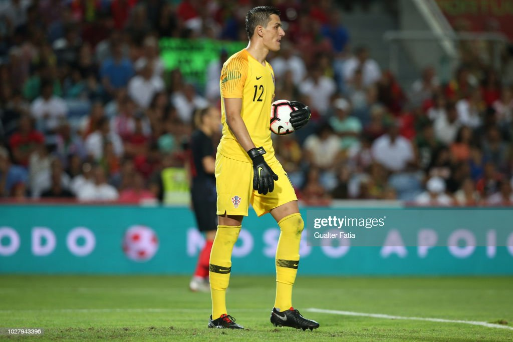 Lovre Kalinic of Croatia and Gent in action during the International Friendly match between Portugal and Croatia at Estadio Algarve on September 6, 2018 in Faro, Portugal.