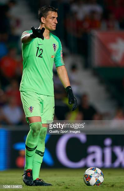 Lovre Kalinic of Croatia controls the ball after Spain scored a goal during the UEFA Nations League A group four match between Spain and Croatia on...