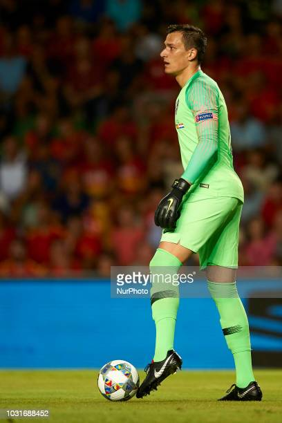Lovre Kalinic of Croatia during the UEFA Nations League football match between Spain and Croatia at Martinez Valero Stadium in Elche Spain on...