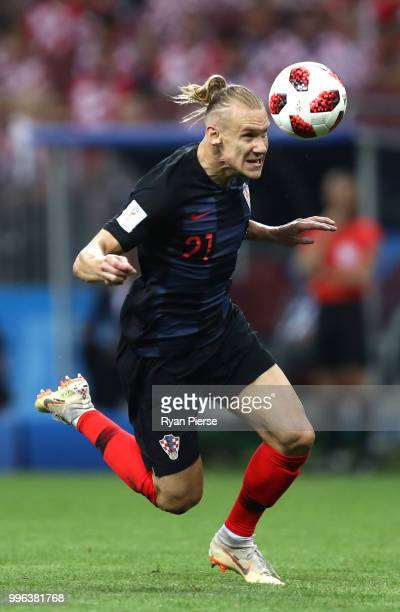 Lovre Kalinic of Croatia heads the ball during the 2018 FIFA World Cup Russia Semi Final match between England and Croatia at Luzhniki Stadium on...