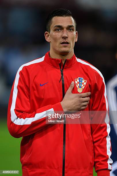 Lovre Kalinic of Croatia lines up for the National Anthems ahead of the International Friendly between Argentina and Croatia at Boleyn Ground on...
