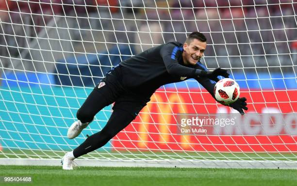 Lovre Kalinic of Croatia makes a save during the Croatia Training Session at the Luzhniki Stadium on July 10 2018 in Moscow Russia