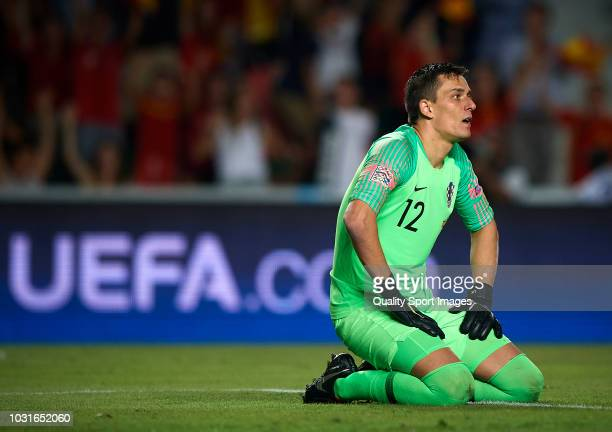 Lovre Kalinic of Croatia reacts after Spain scored a goal during the UEFA Nations League A group four match between Spain and Croatia at Estadio...