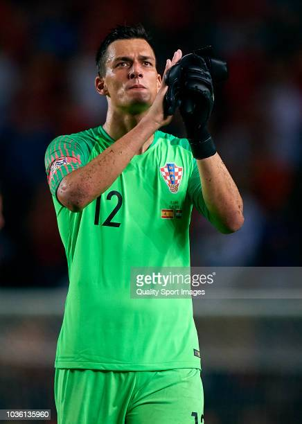 Lovre Kalinic of Croatia reacts during the UEFA Nations League A group four match between Spain and Croatia on September 11 2018 in Alicante Spain