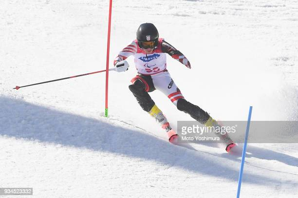 Lovro Dokic of Croatia competes in the Alpine Skiing Men's Slalom Standing on day eight of the PyeongChang 2018 Paralympic Games on March 17 2018 in...