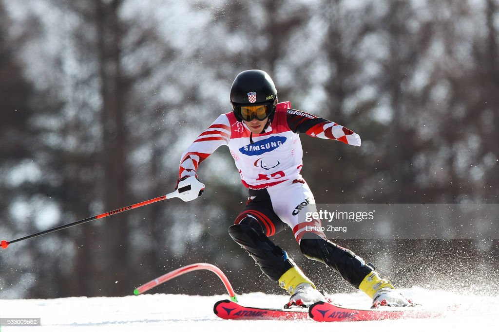 Lovro Dokic of Croatia competes in the Men's Slalom Run 2 - Standing at Alpine Centre during day eight of the PyeongChang 2018 Paralympic Games on March 17, 2018 in Pyeongchang-gun, South Korea.