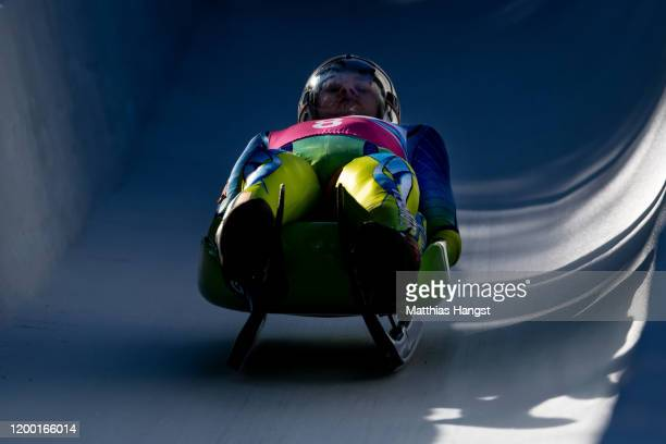 Lovro Kovacic and Tian Badzukov of Slovenia compete in the Men's Doubles Competition Run 2 in luge during day 8 of the Lausanne 2020 Winter Youth...