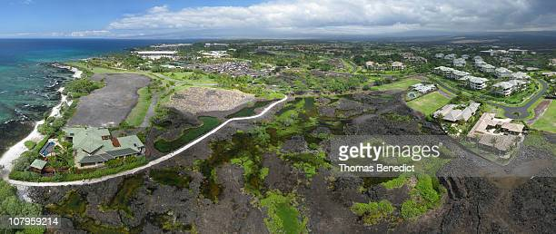 Low altitude aerial panorama of the anchialine ponds at Anaehoomalu Bay, near Waikoloa, on the Big Island of Hawaii, USA