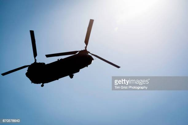 low angle helicopter silhouette - chinook dog stock photos and pictures