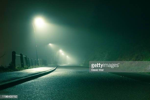 low angle of a spooky country road, going into the distance with street lights, glowing on a moody foggy winters night - remote location stock pictures, royalty-free photos & images