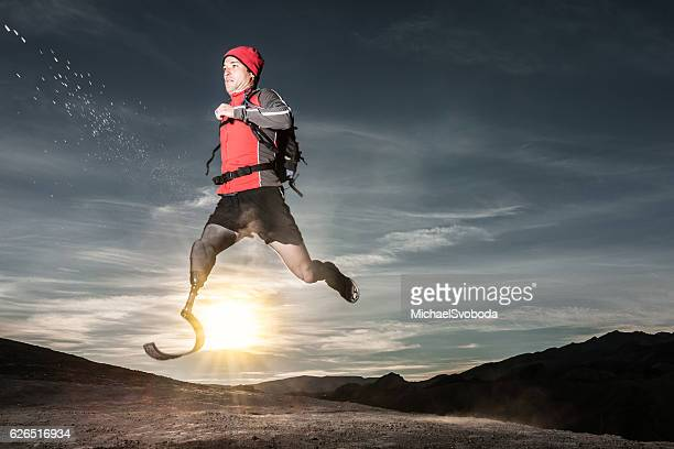 Low Angle Of Prosthetic Leg Running AT Sunrise