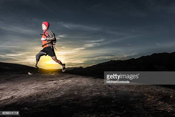 Low Angle Of Prosthetic Leg Running AT Sunrise