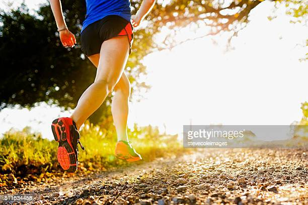 low angle of running shoe - spring racing stock photos and pictures