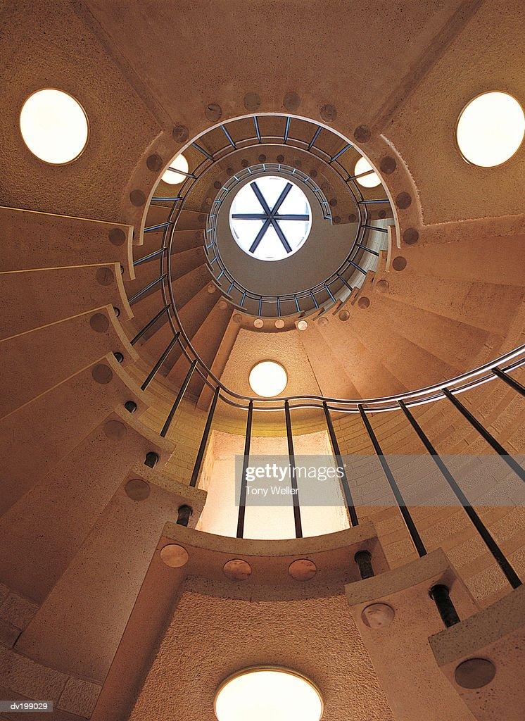 Low angle of spiral staircase : Stock Photo