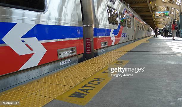 Low angle photograph of a new Septa train in a station