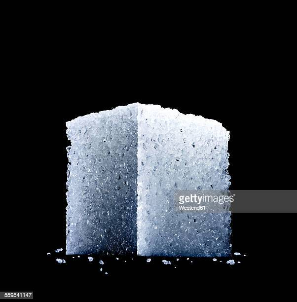 low angle studio shot of a sugar cube
