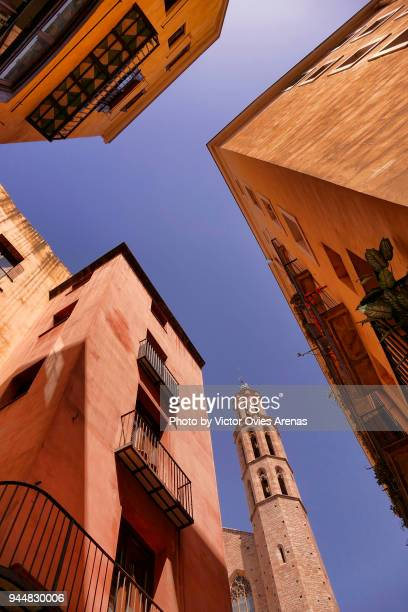 low angle view. cathedral of the sea. santa maria del mar church. santa maria square, barcelona, catalonia, spain - historic district stock pictures, royalty-free photos & images