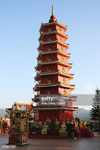 Low Angle View Of 10000 Buddhas Temple Against Clear Sky