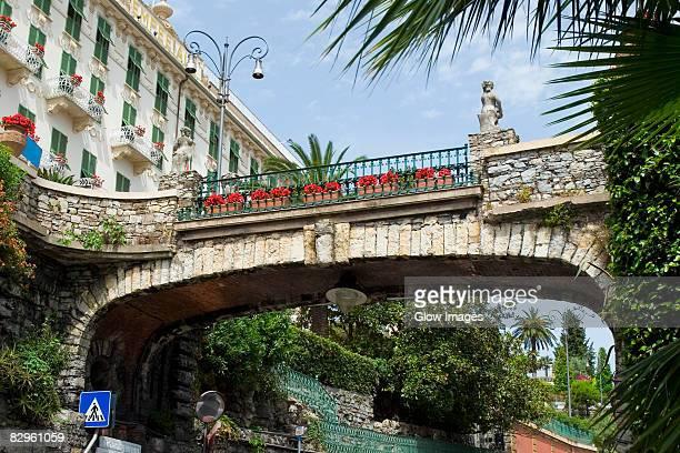 low angle view of a bridge, italian riviera, via antonio gramsci, santa margherita ligure, genoa, liguria, italy - antonio gramsci foto e immagini stock