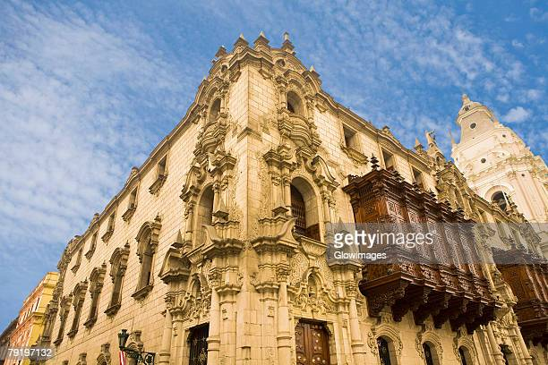 low angle view of a building, archbishop's palace, lima cathedral, lima, peru - lima peru fotografías e imágenes de stock