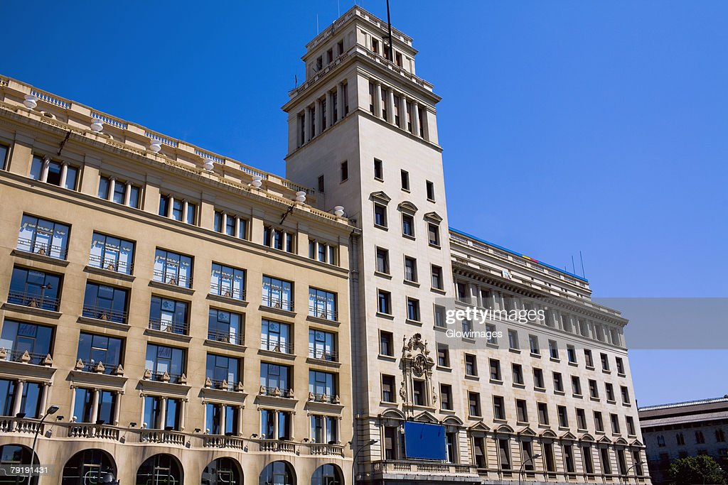 Low angle view of a building in a city, Barcelona, Spain : Stock Photo