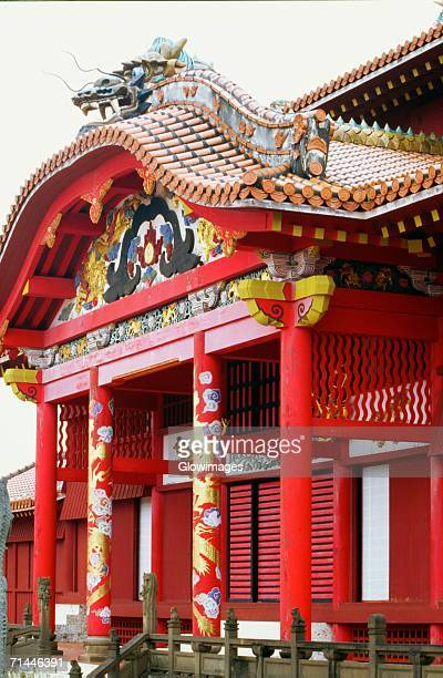 low angle view of a castle, shuri castle, naha, okinawa, japan - burg shuri stock-fotos und bilder