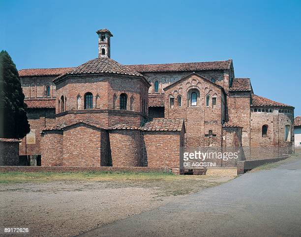 Low angle view of a church Church Of St Maria Maggiore Baptistery Of St Giovanni Lomello Lombardy Region Italy