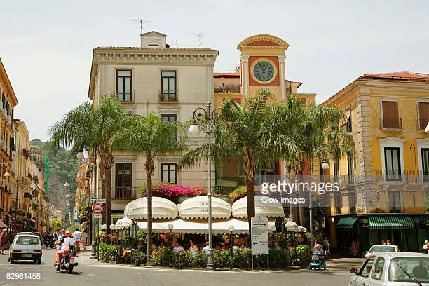 low angle view of a clock tower, piazza tasso, sorrento, naples province, campania, italy - sorrento stock pictures, royalty-free photos & images