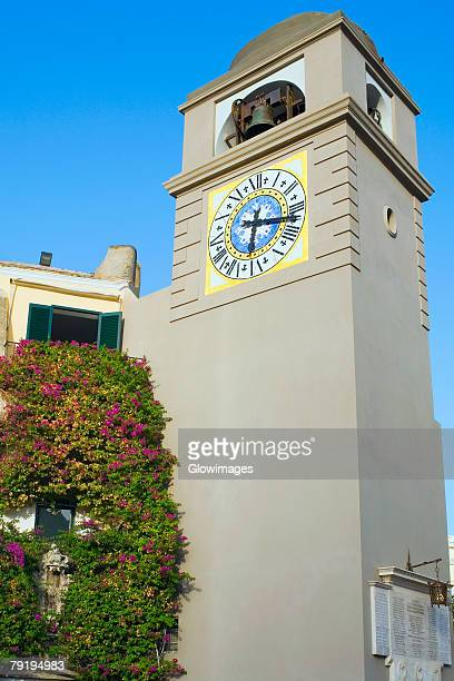 Low angle view of a clock Tower, Piazza Umberto, Capri, Campania, Italy