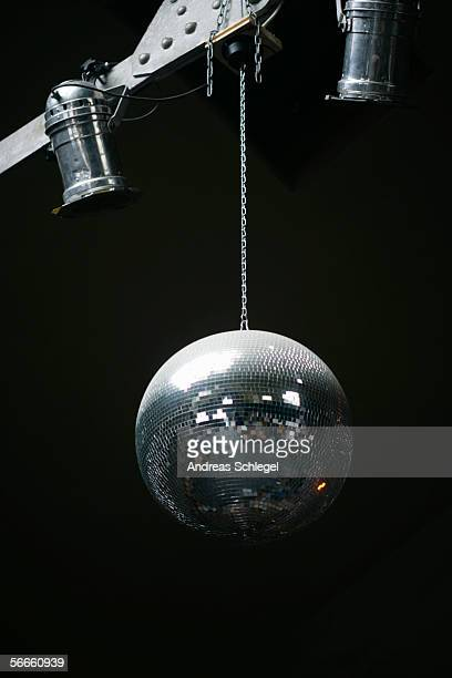 Low angle view of a disco ball