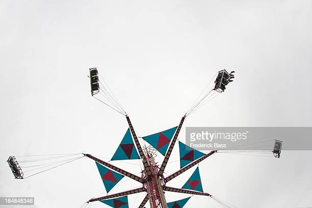 Low angle view of a fairground swing ride
