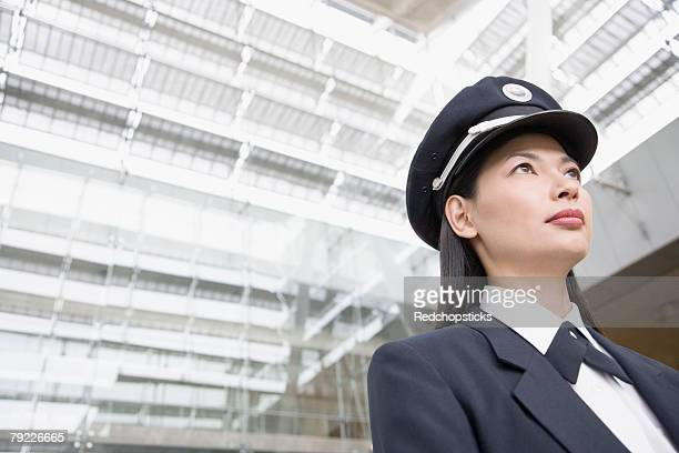 Low angle view of a female pilot