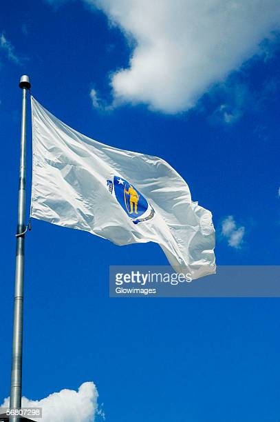 Low angle view of a flag fluttering, Boston, Massachusetts, USA