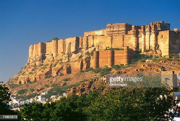 low angle view of a fort, meherangarh fort, jodhpur, rajasthan, india - meherangarh fort stock photos and pictures