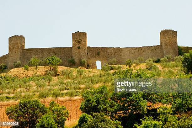 Low angle view of a fort, Monteriggioni, Siena Province, Tuscany, Italy
