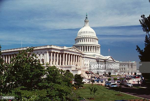 Low angle view of a government building, Capitol Building, Washington DC, USA