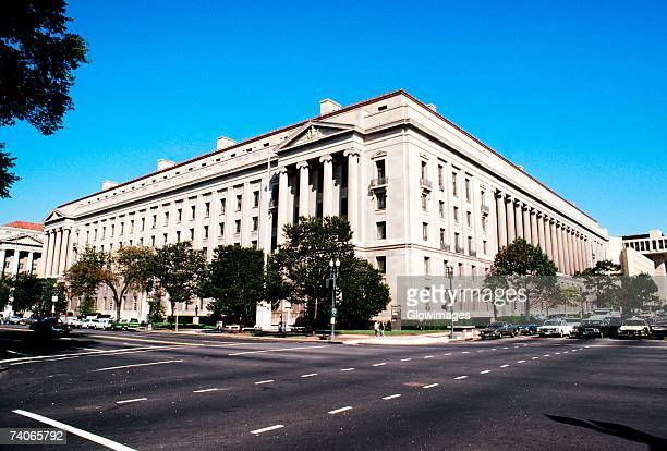 low angle view of a government building, justice department, washington dc, usa - department of justice stock photos and pictures