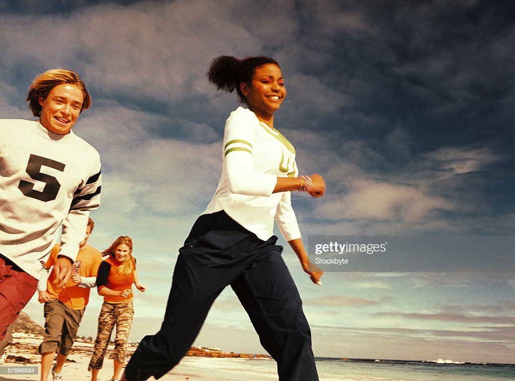 A group of teens running away
