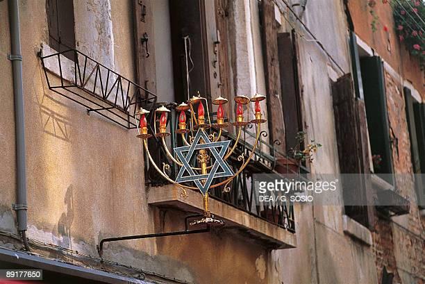 Low angle view of a jewish symbol in a ghetto Venice Veneto Italy
