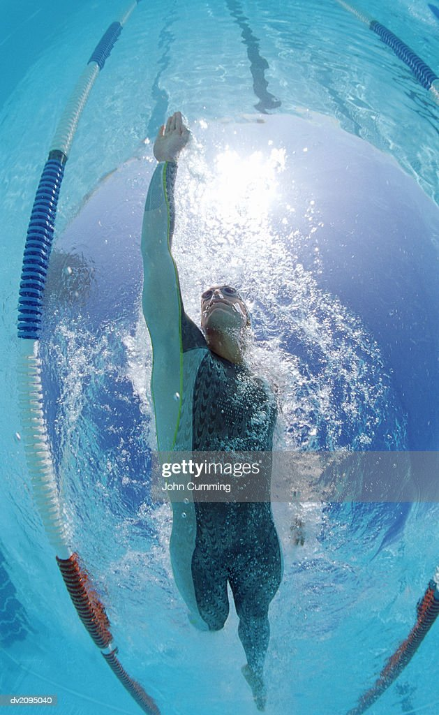 Low Angle View of a Man Swimming : Stock Photo