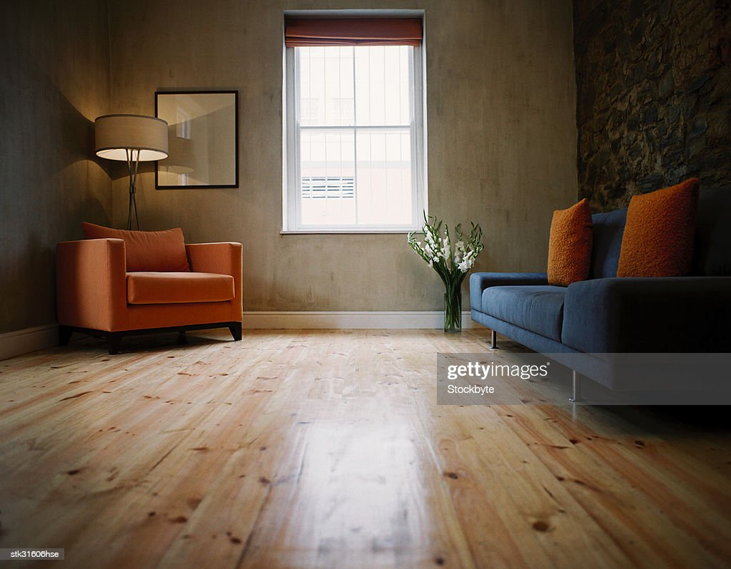 low angle view of a minimalist living room : Stock Photo