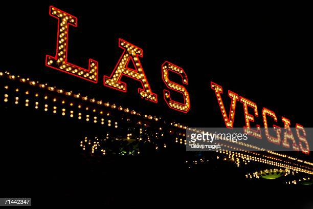 Low angle view of a neon sign board, Las Vegas, Nevada, USA