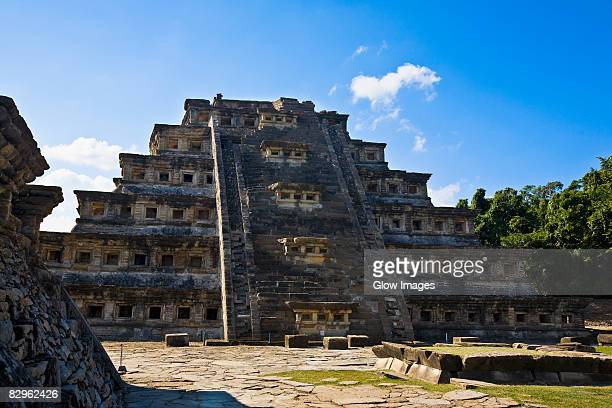 low angle view of a pyramid, pyramid of the niches, el tajin, veracruz, mexico - aztec civilization stock photos and pictures