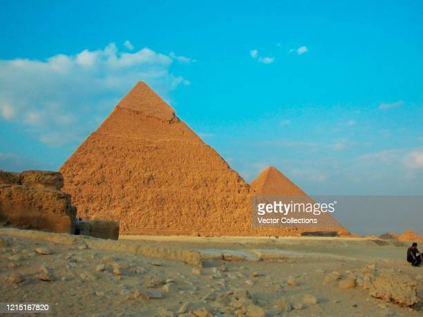 low angle view of a pyramids, giza pyramids, giza, cairo, egypt - stock photo - zoom background stock pictures, royalty-free photos & images