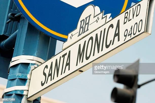Low angle view of a Santa Monica Boulevard Sign, Los Angeles, California, USA