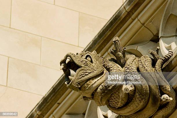 Low angle view of a snake gargoyle, National Cathedral, Washington DC, USA