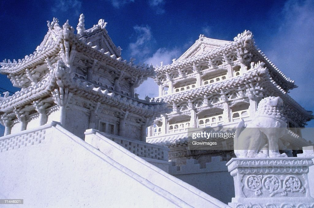 Low angle view of a snow sculpture, Snow Festival, Sapporo, Japan : Stock Photo