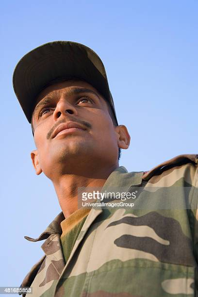 Low angle view of a soldier Pushkar Ajmer Rajasthan India