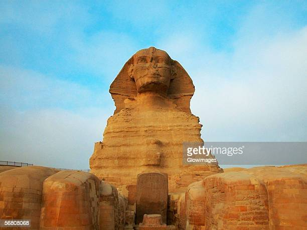 low angle view of a sphinx, giza, cairo, egypt - giza stock pictures, royalty-free photos & images