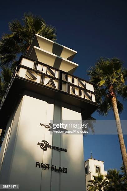 low angle view of a station, union station sign, los angeles, california, usa - union station los angeles stock photos and pictures